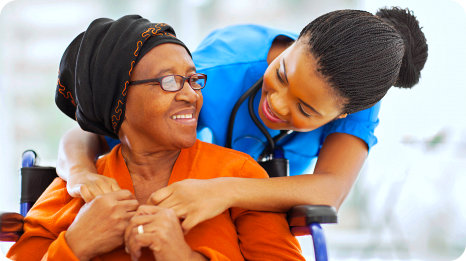 happy patient while seeing her nurse
