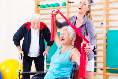 two senior couple happy while taking physical recovery